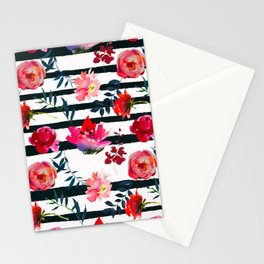 Black white pink floral watercolor stripes pattern Stationery Cards
