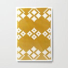 Geometric Pattern | Yellow Background Metal Print