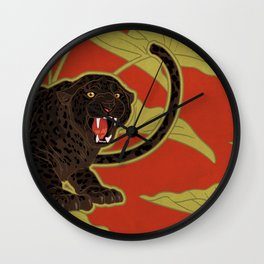 Black Panthers on  Red. Wall Clock