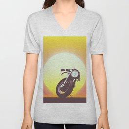 Vintage bike sunset Unisex V-Neck
