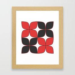 Mid-Century Modern Art - Flower Pattern Black Red Framed Art Print