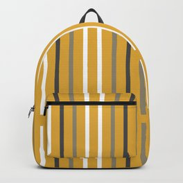 Divided Lines in Navy Blue, Gray, and White on Mustard Yellow Backpack