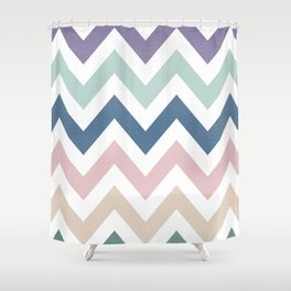 MUTED CHEVRON {COOL TONES} Shower Curtain