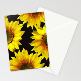 Large Sunflowers on a black background - #Society6 #buyart Stationery Cards