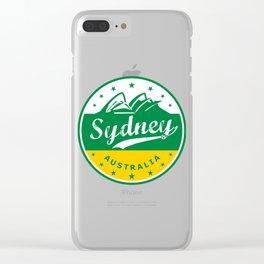 Sydney City, Australia, circle, green yellow Clear iPhone Case