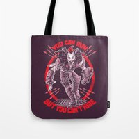 marauders Tote Bags featuring MAD MAX: WEZ THE ROAD WARRIOR by BeastWreck