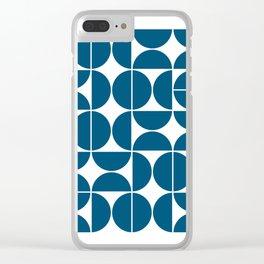 Mid Century Modern Geometric 04 Blue Clear iPhone Case