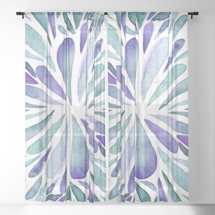 Symmetrical drops - purple and turquoise Sheer Curtain