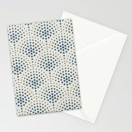 Blue Polka Dot Scallop Pattern on Linen White Pairs To 2020 Color of the Year Chinese Porcelain Stationery Cards