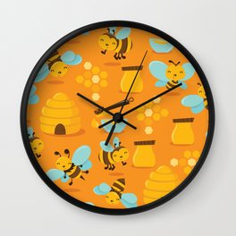 Cute Honey Bee Pattern Wall Clock