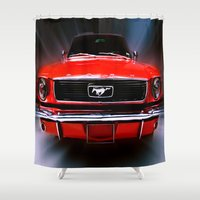 mustang Shower Curtains featuring Mustang Sally by Cozmic Photos
