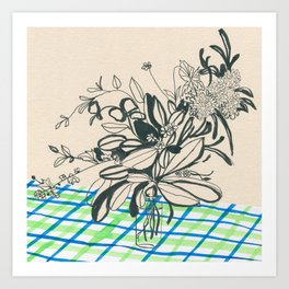 Flowers at the framhouse cafe -line drawing leaves #6 Art Print
