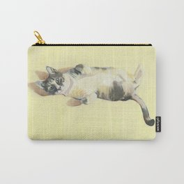 """Frankie - 9"""" x 12"""" Oil on Panel Cat Portrait Carry-All Pouch"""