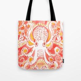 OCTOPUSSY Orange Watercolor Octopus Tote Bag