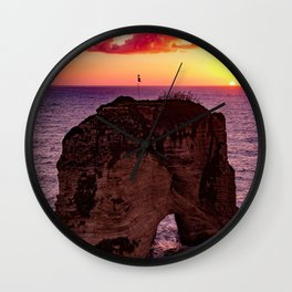 Sunset Rock Island (Color) Wall Clock