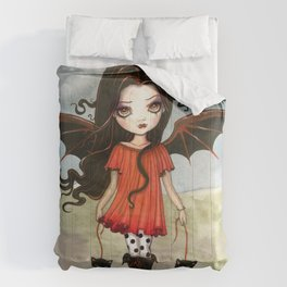 Child of Halloween Cute Gothic Vampire Child and Black Cats Illustration Comforters
