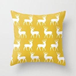 Mid Century Modern Deer Pattern Mustard Yellow Throw Pillow