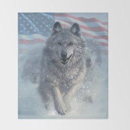 Running Wolves America Throw Blanket