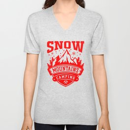 Snow Mountains Camping re Unisex V-Neck