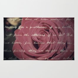 Antique Red Rose with Text Rug