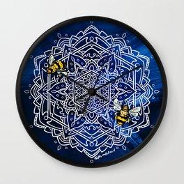 Bee Dance Mandala A - Textured Indigo Wall Clock