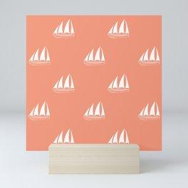 White Sailboat Pattern on coral background Mini Art Print