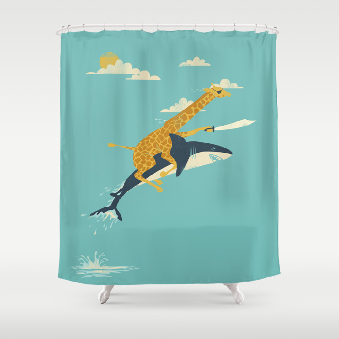 Illustration shower curtains society6 for Funny shower curtains