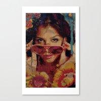 bianca green Canvas Prints featuring Bianca by Yuri Torres Bertazolli