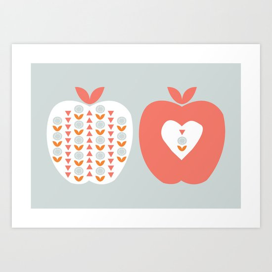 Scandi Apples Art Print