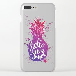 Hand drawn lettering color pineapple silhouette with watercolor splash Clear iPhone Case