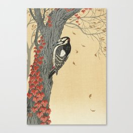 Great spotted woodpecker in tree with red ivy (1925 - 1936) by Ohara Koson (1877-1945). Canvas Print