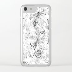 lily sketch black and white pattern Clear iPhone Case