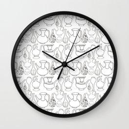 Persian Pots (b&w) Wall Clock