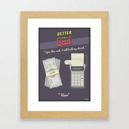 better call Saul - Minimal Artwork 1x04 ( Hero ) Framed Art Print