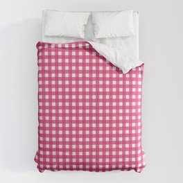 Farmhouse Gingham in Dark Pink Comforters