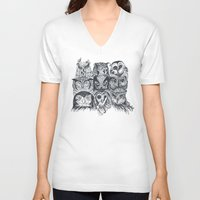 owls V-neck T-shirts featuring Nine Owls by Rachel Caldwell