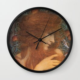 The Woman and the Serpent portrait painting by Lucien Levy Dhurmer Wall Clock