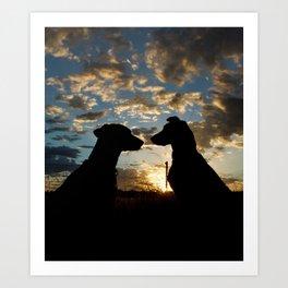 True friends silhouette Art Print