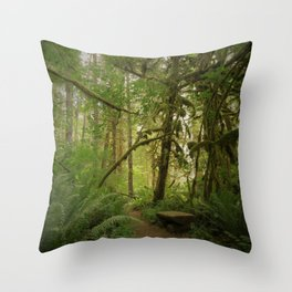 Bench of Serenity in the North Cascades Throw Pillow