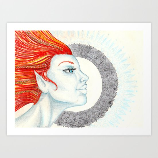 Elf Goddess with Fire Hair Mandala Art Print
