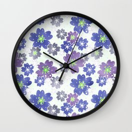 Floral blue and white pattern . Wall Clock