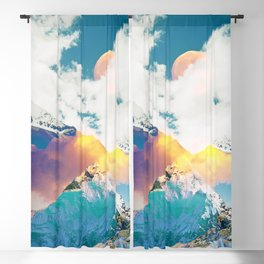 Dreaming Mountains, Colorful Photography Digital Collage, Nature Scenic Travel Moon Landscape Blackout Curtain