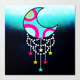 Bohemian Dream Zentangle Moon Canvas Print