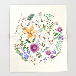 Winter Flowers Throw Blanket