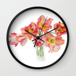 Parrot Tulips in a Glass Vase Wall Clock