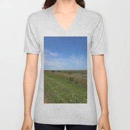 Blue Sky over green North Sea Island Pellworm Unisex V-Neck