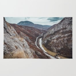 Beautiful photo of the canyon in Serbia, with river and the highway in the middle Rug