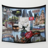detroit Wall Tapestries featuring Detroit MI by Andrew Sliwinski