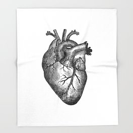 Vintage Heart Anatomy Throw Blanket