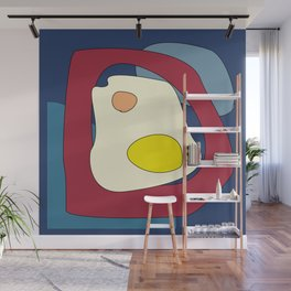 Abstract geometric digital blue, red, yellow, white art Wall Mural